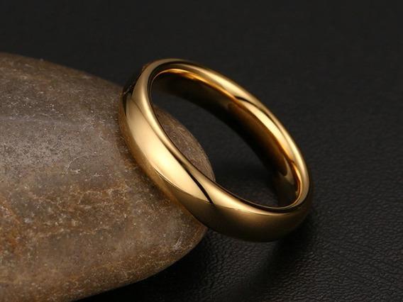 Aliança De Noivado Tungstênio Banhada Ouro 18k 4mm