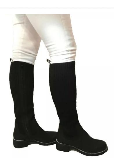 Bota Caña Alta Elastizada Bucanera Zapato Mujer Plataforma