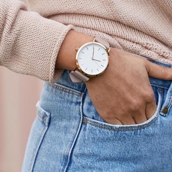 Relógio Feminino Dourado Bonito Barato Pulseira Promoção Pu