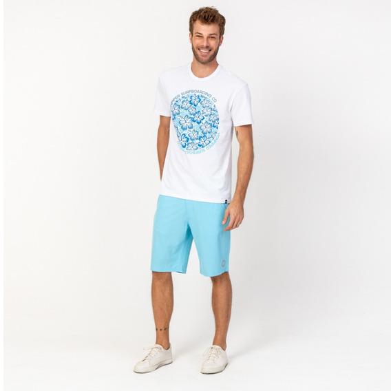 Camisa Casual Masculina T-shirt Branca Flores Azul Vonpiper