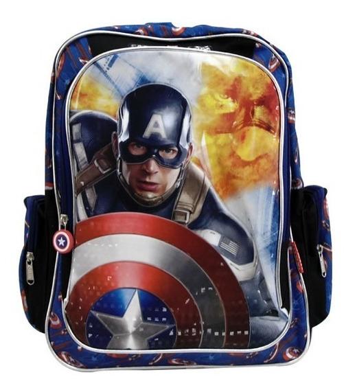 Mochila Escolar Primaria Marvel Capitan America Alta Calidad