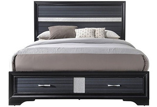 Mueble Cocina Acme Naima Black Queen Bed With Storage