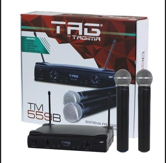 Microfone Duplo Sem Fio Tagima Tag Sound Tm559b Uhf