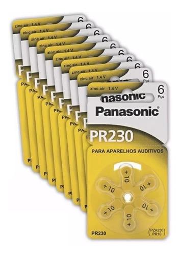Pilha Auditiva Zinc Air Panasonic Pr230 10 Blister Com 6 Un.