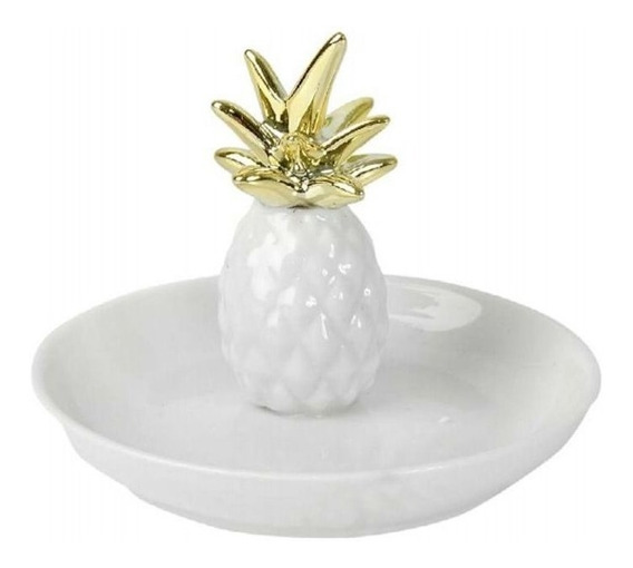 Porta-anel Cerâmica Abacaxi Branco E Dourado 8x10cm D