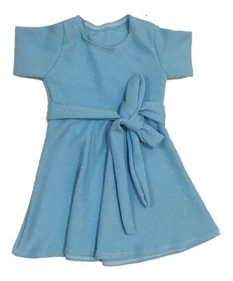 Vestido Infantil Rodado Manga Curta Cinto Para Amarrar