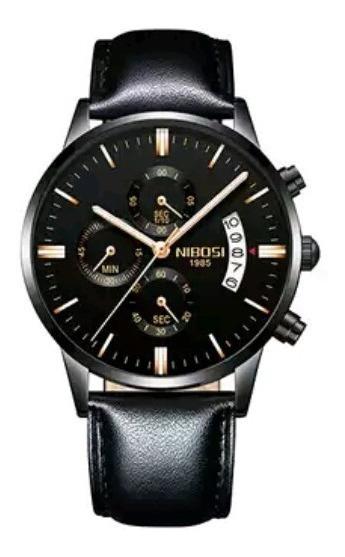 Relógio De Luxo Nibosi Pulseira De Couro