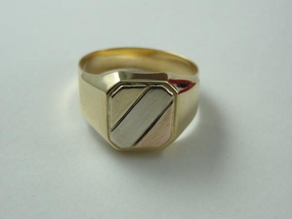 Anel De Ouro 18k - 3 Tons De Ouro - Amarelo / Branco / Rose