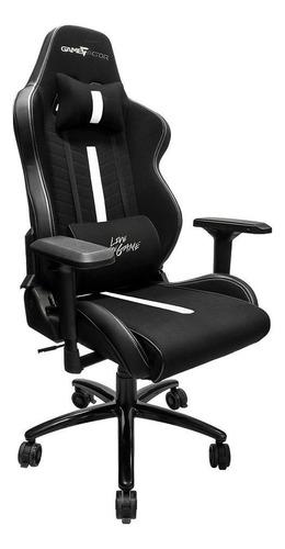 Imagen 1 de 2 de Silla de escritorio Game Factor CGC601 gamer ergonómica  negra y blanca con tapizado de tela