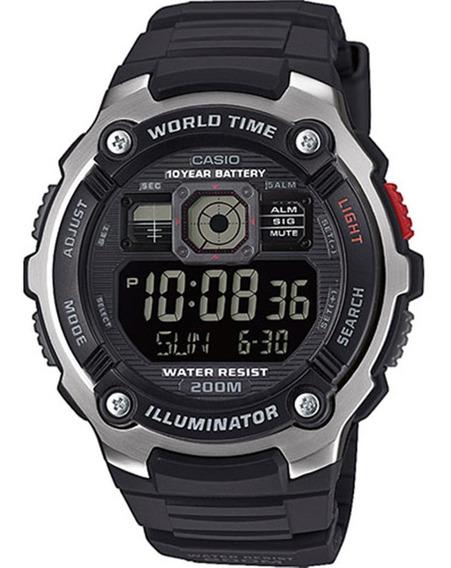 Reloj Casio Caballero Ae2000 Caucho Cristal Mineral - Sumergible - 5 Alarmas