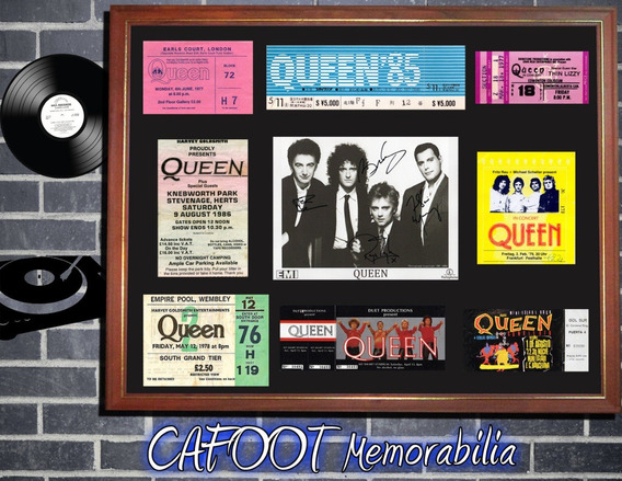 Queen Foto Firmada Y Entradas Históricas En Cuadro Mercury