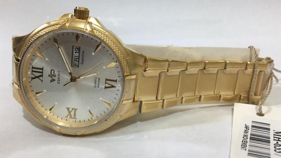 Relógio Vip Mh-6337 Pulseira Dourada Fundo Branco Promoção