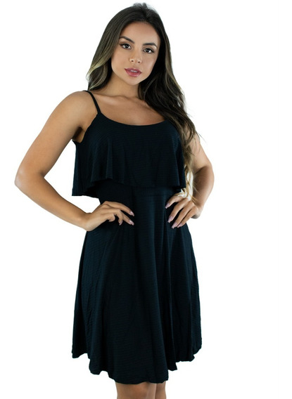Vestido Ciganinha Canelado Babado Feminino Curto Moda 291