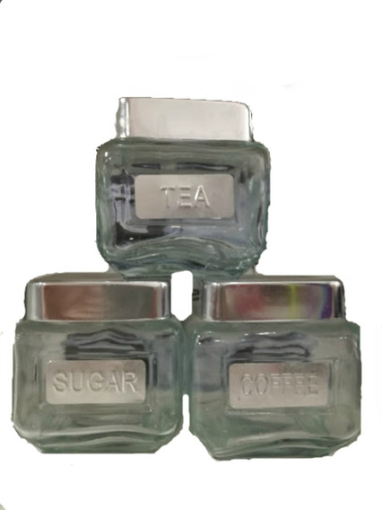 Set 3 Jars Organizador Te,azucar,cafe Tapa Aluminio Especier