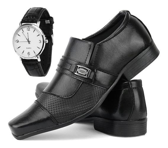 Kit Sapato Social Masculino Verniz Com Relógio Caixa Baixa