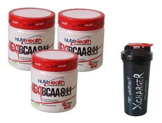 Kit 3x Bcaa 8:1:1 Next Pó 300g Nutrihealth + Shaker