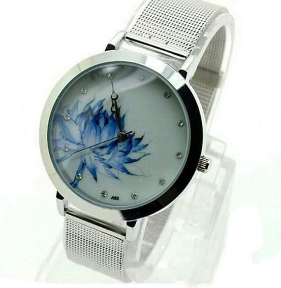 Relógio Feminino Luxo Prata Flor Azul E Pedras Aço Barato