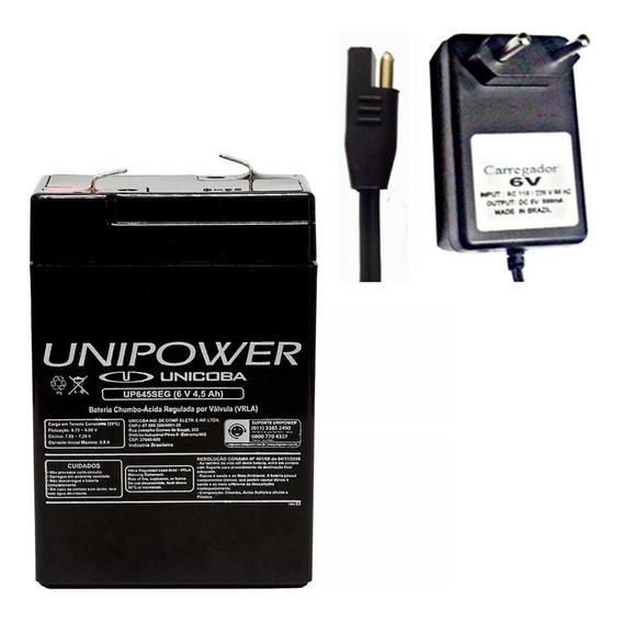 Bateria Selada E Carregador 6v 4,5ah Moto Elétrica Brinquedo