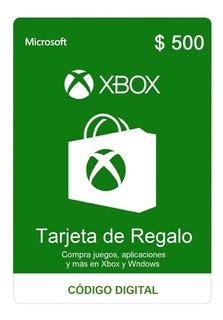 Gift Card Tarjeta De Regalo Microsoft Xbox 500 Pesos Ars
