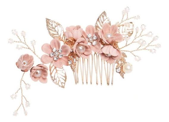 Hermoso Tocado Dama Niña Floral Perlitas Accesorio Envio G!