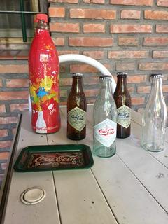 Colección Coca Cola Botella Grande Y 4 Chicas Plato