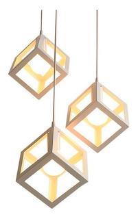 Colgantes Triple Trikyvos Negro Blanco 3 Luces Led Cubo Ff