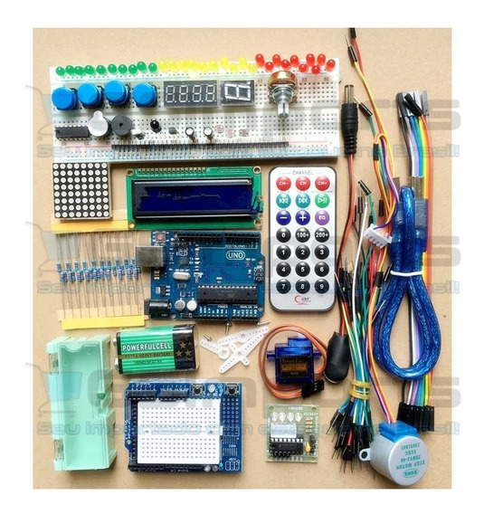 Arduino Uno R3 Kit Starter Atmega328p Com Caixa Frete Grátis