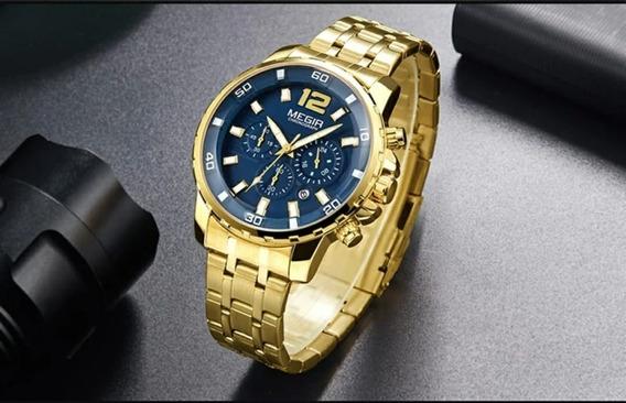 Relógio Masculino Megir 2068 Militar Cronógrafo Luxo