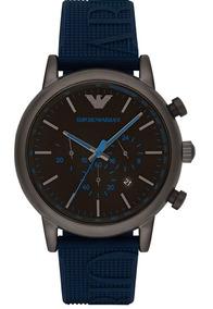 Relógio Empório Armani Ar11023 Caixa Em Luigi Blue Silicone