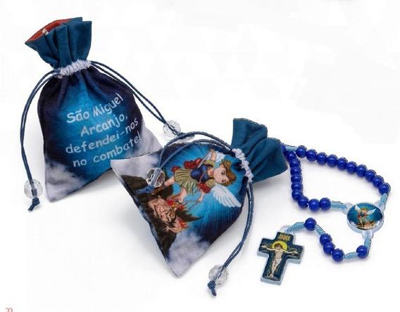Terço Infantil São Miguel Azul Saco Tecido 40cm Lançamento