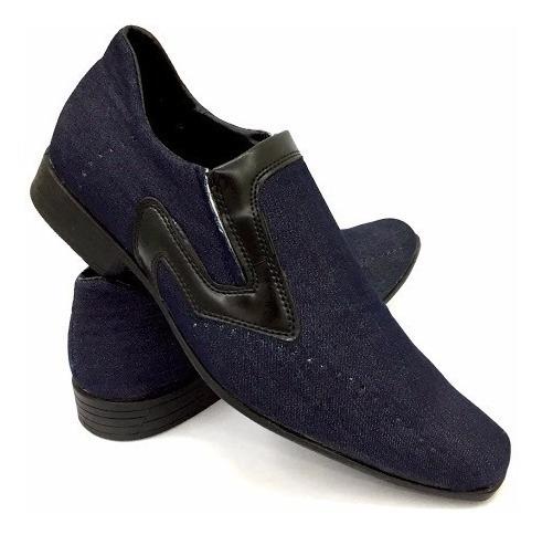 Sapato Jeans Social Casual Estilo Alongado Masculino Ref.298