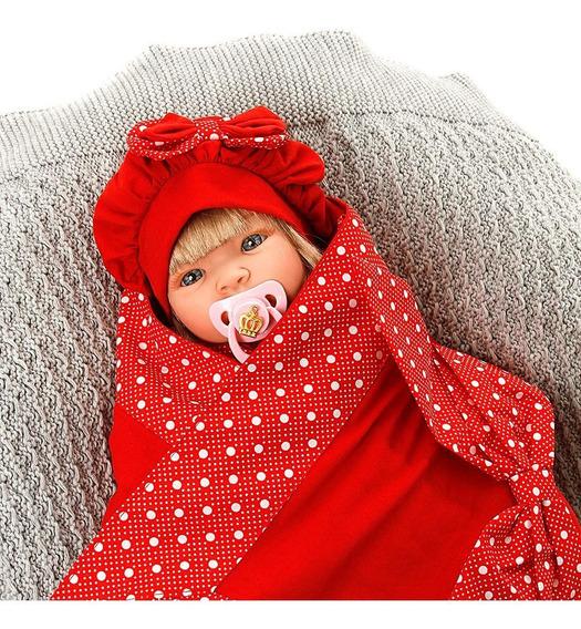 Boneca Bebe Reborn Menina Balone Vermelho Cegonha Dolls