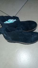 Botas De Cuero Gamuzado Negro