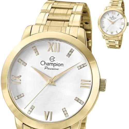 Relógio Champion Feminino Dourado Grande Original Cn29169h