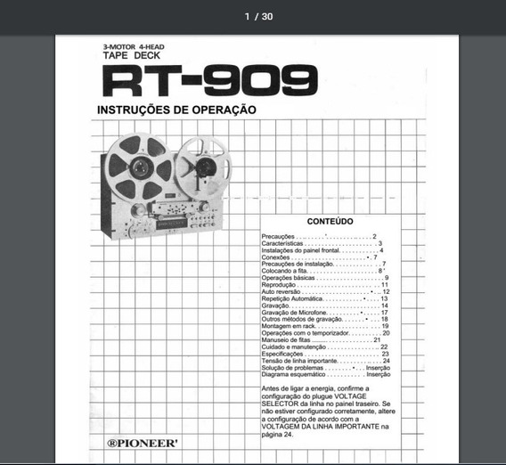 Manual Em Português Do Tape Deck Pioneer Rt-909