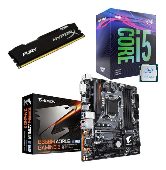Kit Intel I5 9400f + Aorus B360m Gaming 3 + Hx 8gb 2400