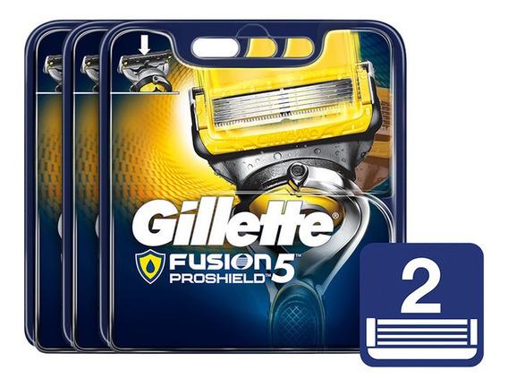 Packx3 Gillette Fusion5 Proshield Cartuchos De Afeitar 2uni