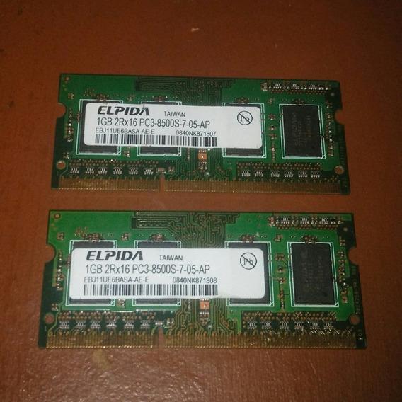 Memorias Ram Para Laptop 1gb Ddr3 8500s (1066) Usadas (5$)