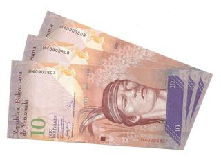 3 Billete De 10 Bs. De Marzo 2007 H8 Unc Bs. 580.000._