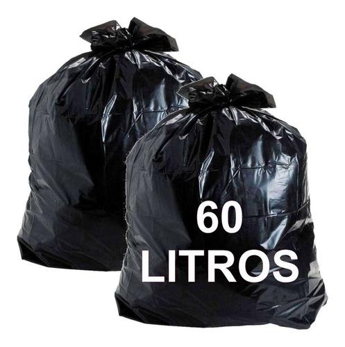 Imagem 1 de 5 de Kit 2 Sacos Lixo Preto 60l Espessura Média C/ 50 Unidades Cd