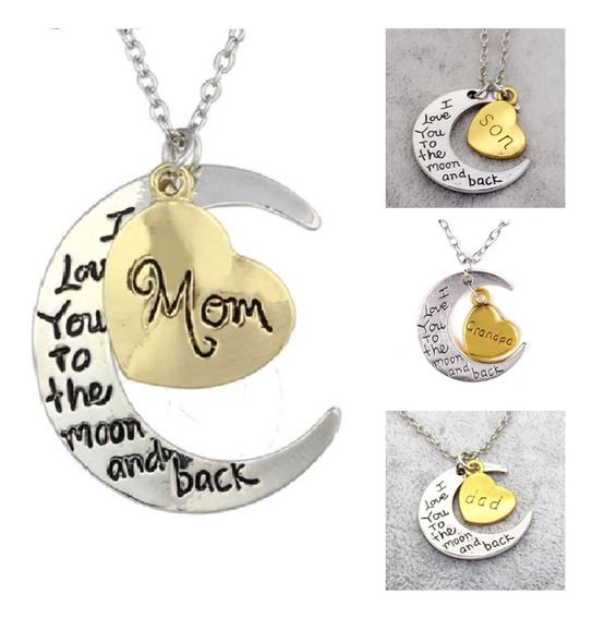 Collar Luna I Love You To The Moon And Back Mom Dad Sister