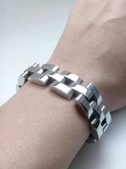 Pulseira Masculina Bracelete Grossa Aço Inox Cirúrgico 316l