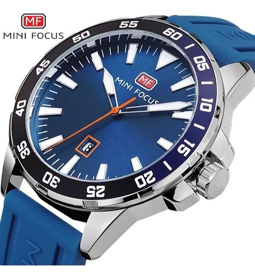 Relógio Masculino Minifocus Azul Silicone Com Frete Grátis