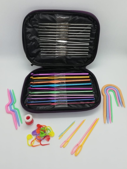 Set 22 Agujas Crochet De Aluminio + 24 Accesorios
