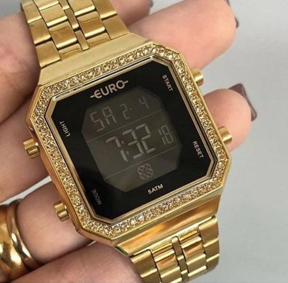 Relógio Euro Feminino Fashion Fit Diamond Dourado