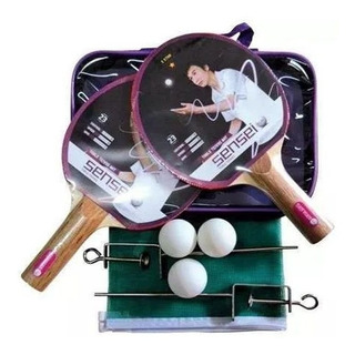 Set Ping Pong Sensei Kit 2 Paletas + Red Soporte + 3 Pelotas