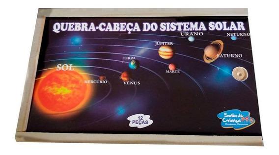 Brinquedo Educativo Quebra Cabeça Sistema Solar 12 Peças