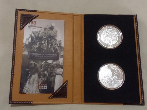 Set 2 Medallas $10 Pesos Centenario Rev. Mex, 2 Onzas Plata