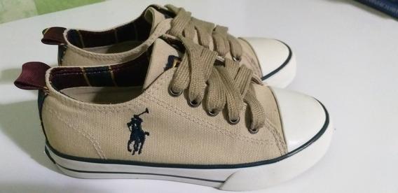 Tênis Infantil Pouco Usado, Polo Ralph Lauren, Bege, 25