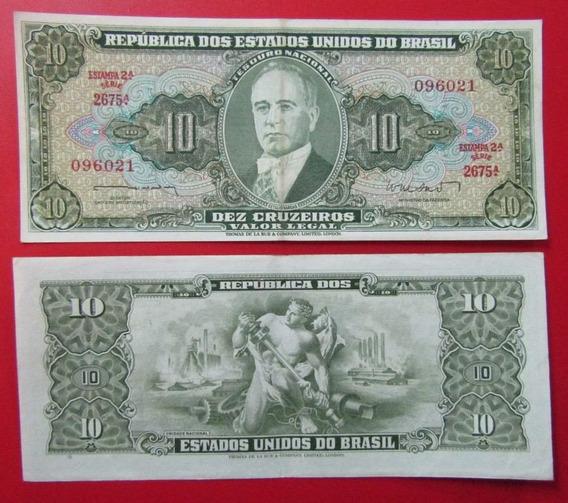 Brasil Billete 10 Cruzeiros Xf Año 1962 Getulio Vargas